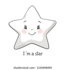 Star cute print. Sweet baby boy shower card. Good night sky. Cool and lovely illustration for nursery, pajamas t-shirt, kids apparel, invitation, simple child design. I'm a star slogan