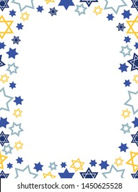 Star of David borders. Perfect for holiday newsletters and mailers. Scattered and different styles of the Star of David. Great for Jewish Holidays.