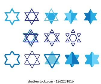 Star of David clipart set. Jewish symbol Blue and White icon