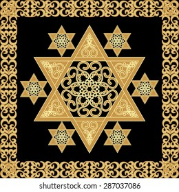 Star of David decoration tile with geometric vintage yew ornament in gold design. Israel national symbol magen. David's star in golden frame.   Hannukah decoration.  High holy days,  Yamim Noraim