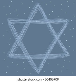 star of david doodle drawing on blue background. hand drawn vector illustration