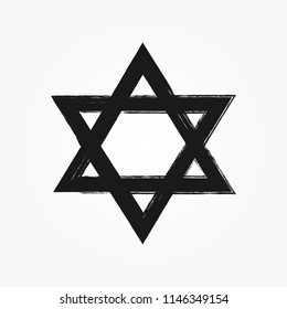Star of David drawn by hand with rough brush. Grunge, sketch, graffiti, watercolour. Vector illustration.