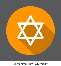 Star of David flat icon. Round colorful button, circular vector sign with long shadow effect. Flat style design