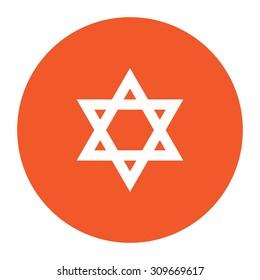 Star of David. Flat white symbol in the orange circle. Vector illustration icon