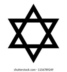 Star of David. Hexagram sign. Symbol of Jewish identity and Judaism. Simple flat black illustration.