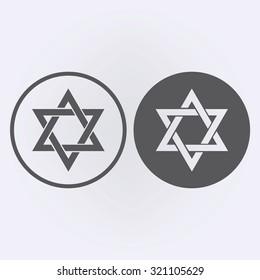 Star of David icon in circle set . Vector illustration