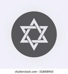 Star of David icon in circle . Vector illustration