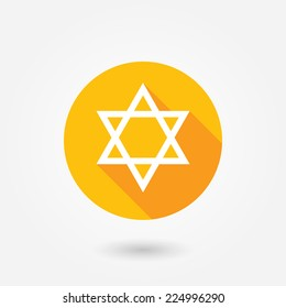 Star of David icon | sing | symbol. Flat design style with long shadow