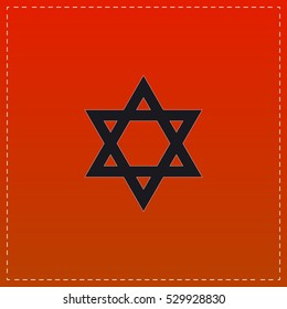 Star of David Icon Vector. Black flat button on red background