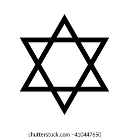 Star of David Icon Vector Illustration Symbol Israel Judaism Black White