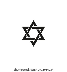 Star of David icon vector on a white background