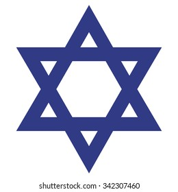Star of David . Jewish religion symbol . Vector illustration