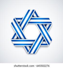 Star of David made of interlaced ribbon with Israel flag stripes. Vector illustration for Israel national holidays.