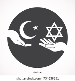 star of David, Moon and star. Palestine and Israel as metaphor of peace and peaceful coexistence