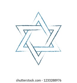 Star of David painted with a brush. Icon, symbol of Judaism. Vector illustration isolated on white background.
