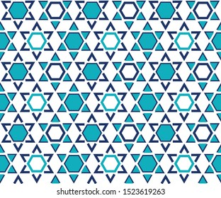 Star of David seamless pattern, texture, background. Traditional jewish ornament. Symbol of Israel. Modern simple vector design for greeting cards, textile print, wallpaper, wrapping paper.