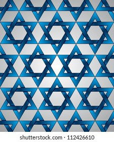 Star of David seamless pattern, vector background.