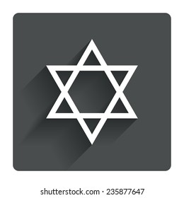 Star of David sign icon. Symbol of Israel. Jewish hexagram symbol. Shield of David. Gray flat square button with shadow. Modern UI website navigation. Vector