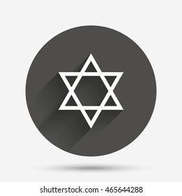Star of David sign icon. Symbol of Israel. Jewish hexagram symbol. Shield of David. Circle flat button with shadow. Vector