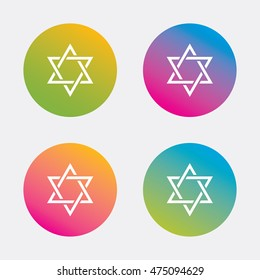 Star of David sign icon. Symbol of Israel. Jewish hexagram symbol. Shield of David. Gradient flat buttons with icon. Modern design. Vector