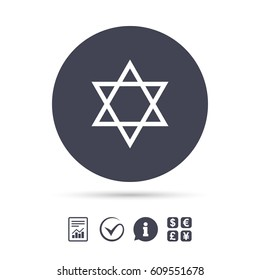 Star of David sign icon. Symbol of Israel. Jewish hexagram symbol. Shield of David. Report document, information and check tick icons. Currency exchange. Vector