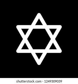 Star of david, simple icon. White icon on black background. Inversion