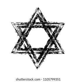 Star of David. Style hand-drawn thick strokes. Grunge star of david.