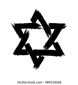 Star of David. Style hand-drawn thick strokes. Strokes vector