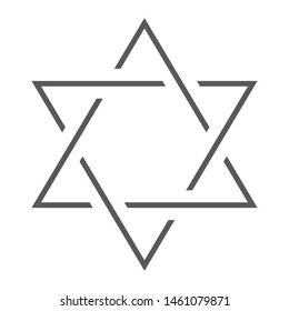 Star of David thin line icon, israel and jewish, hexagram sign, vector graphics, a linear pattern on a white background, eps 10.