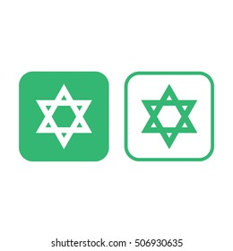 Star of David vector icon. Green and white