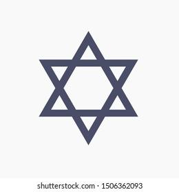 Star David, vector icon, Israel religion