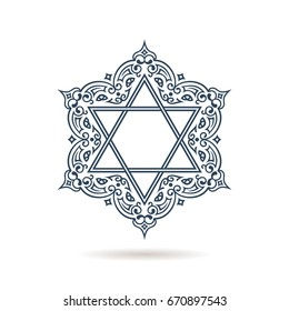 Star of David. Vector Jewish ornament. Blue icon on white background with shadow. Hexagonal emblem with oriental traditional black decor