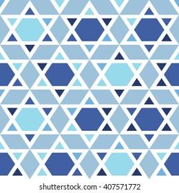 Star of David vector seamless pattern