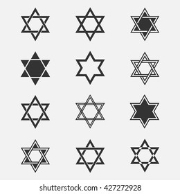 Star of David vector set. Collection of Jewish stars isolated from the background. Icons Magen David in a flat style. Are different Black Star of David symbol.