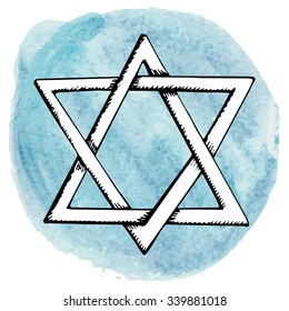 Star of David,symbol of Israel in watercolor splash background.Doodle style ,hand drawing jewish icon.Vector Illustration.Hanukkah Greeting card.Artistic texture.