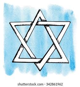 Star of David,symbol of Israel in watercolor splash background.Doodle style ,hand drawig jewish icon.Vector Illustration.Hanukkah Greeting card.Artistic texture.