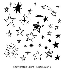 Star doodles, hand drawn stars vector set