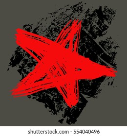 The star, is drawn by hand, a brush and ink, in style grunge, a vector illustration