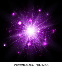 Star dust sparks in explosion, bokeh special light effect, Purple glitter particles  isolated on on black background. Vector Illustration