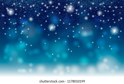 Star dust sparks on blue background. Vector blue glitter particles background effect for luxury christmas and new year greeting card. Sparkling texture.