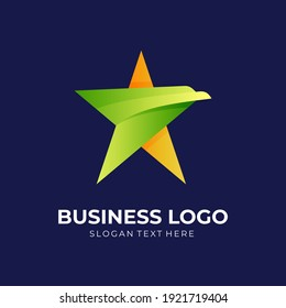 star eagle logo, star and eagle, combination logo with 3d yellow and green color