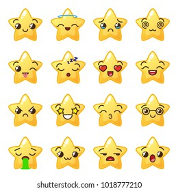 Star emoji. Cute emoticons. Face icon. Kawaii