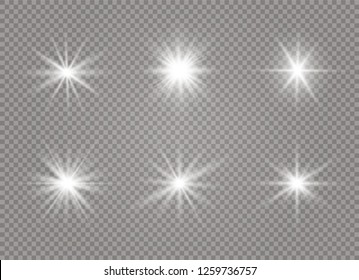 Star explodes on transparent background. Sparkling magic dust particles. Bright Star. The transparent shining sun, bright flash. Vector sparkles. To center a bright flash.