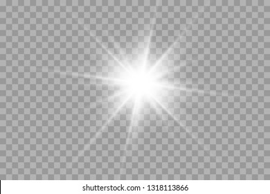 Star explodes on transparent background. Sparkling magic dust particles. Bright Star. The transparent shining sun, bright flash.