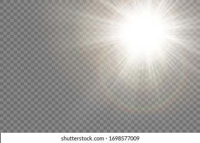 Star explosion vector illustration, glowing sun. Sunshine isolated on transparent background