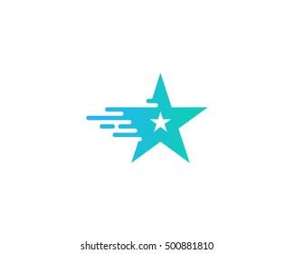 Star Fall Star Move Fast Star Logo Design Template