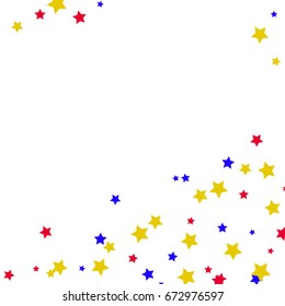 Star Falling Confetti Print. Vector Background for Birthday Party Celebration. Gold, Blue, Red Stars in White Background.