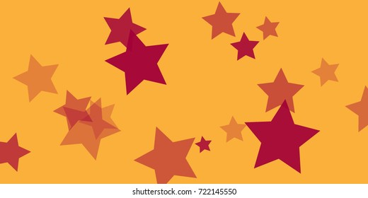 Star Falling Confetti Print. Vector Background for Birthday Party, Celebration, Festival. Vector illustration. Perfect For Logo, Banner, Icon. Golden Background With red Stars.