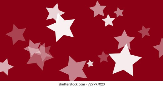Star Falling Confetti Print. Vector Background for Birthday Party, Celebration, Festival. Vector illustration. Perfect For Logo, Banner, Icon. Red Background With White Stars.