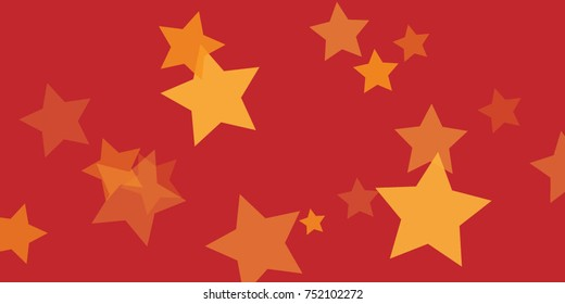 Star Falling Confetti Print. Vector Background for Birthday Party, Celebration, Festival. Vector illustration. Perfect For Logo, Banner, Icon. Red Background With Gold Stars.
